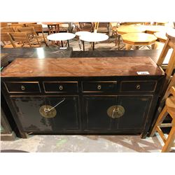 ASIAN STYLE BLACK PAINTED SIDEBOARD