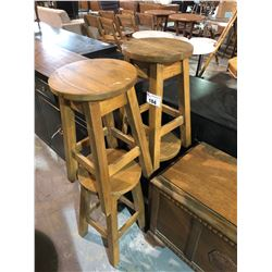 LOT OF 4 SOLID OAK BARSTOOLS