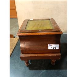 ANTIQUE WOODEN LIFT TOP BOX