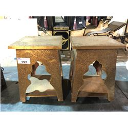 PAIR OF METAL DECORATED END TABLES
