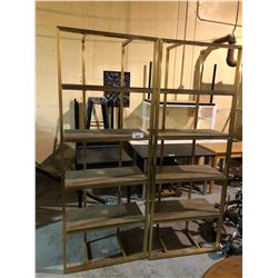 PAIR OF BRASS COLOR AND WOOD SHELVING UNITS