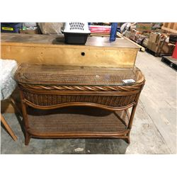 GLASS TOP RATTAN AND WICKER SOFA TABLE
