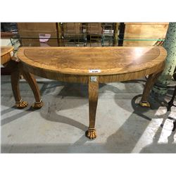 BEAUTIFUL LIONS PAW FOOT LARGE D SHAPED HALL TABLE
