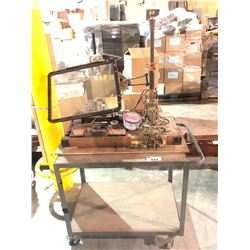 STEAMPUNK DISPLAY WITH ROLLING METAL CART