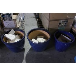 LOT OF 3 LARGE BLUE PLANTERS