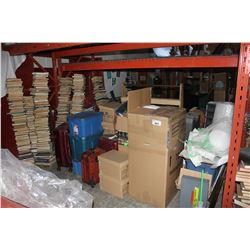 LARGE LOT OF MISC FURNITURE UNDER PALLET RACKING, INCLUDING LUGGAGE, MOVIE SET BOOKS AND MORE