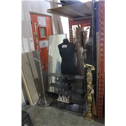 LOT OF MISC INCLUDING BEVELED MIRROR, MANNEQUIN, COAT TREE AND ROOM DIVIDER