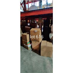 LARGE LOT OF MISC FURNITURE AND BOXES UNDER PALLET RACKING INCLUDING SINK, CLOTHING STANDS AND