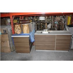 PAIR OF SINK UNITS AND SINK ON TOP