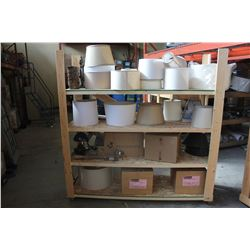 ROLLING SHELF UNIT WITH MISC MOVIE SET ITEMS