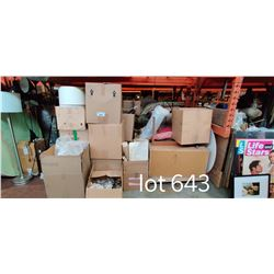 LARGE LOT OF MISC MOVIE SET BOXED ITEMS UNDER PALLET RACKING