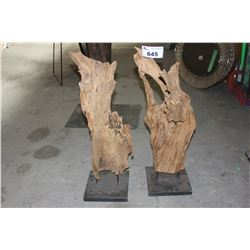 PAIR OF DRIFTWOOD FIGURES