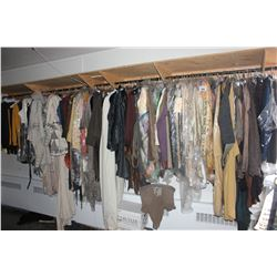 LARGE LOT OF WARDROBE CLOTHING, RACK NOT INCLUDED