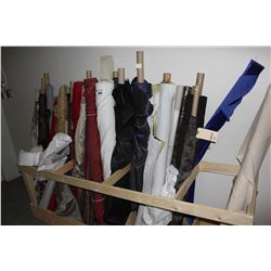 LARGE LOT OF FABRIC IN STAND, STAND NOT INCLUDED