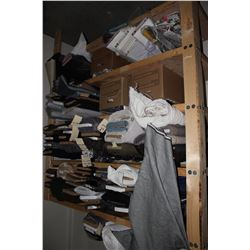 LARGE LOT OF FABRIC ON SHELVES, SHELVES NOT INCLUDED