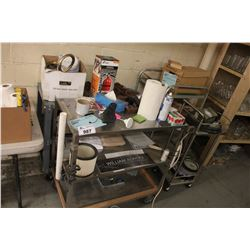 4 ROLLING METAL CARTS WITH CONTENTS