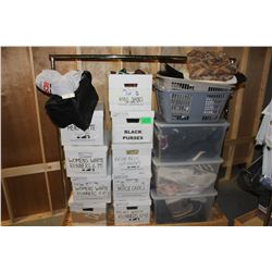 ROLLING CART OF WARDROBE SHOES AND ACCESSORIES