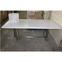 LARGE WHITE AND METAL DINING TABLE