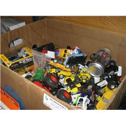 BOX OF ASSORTED TOY CARS & WATERGUNS