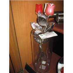 SILVER-PLATED ROSES IN A VASE