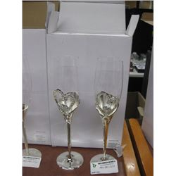 SILVER HEART CHAMPAGNE GLASS SET