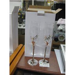 SILVER BRIDE & GROOM GLASSES