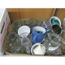 BOX W MUGS , GLASSES , & WINE GLASSES