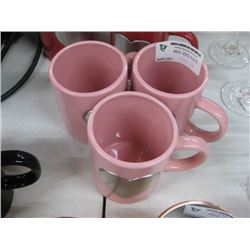 3 PINK CUPS W HEARTS