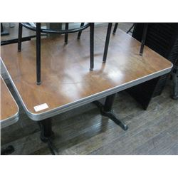 8 PIECES -28 INCH X 42 INCH BROWN/CHROME RESTAURANT TABLE