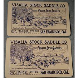 (2) Visalia Stock Saddle Co. business cards