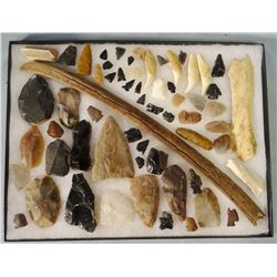 Tray of 63 points, scrapers, bone tools, Madison County, MT
