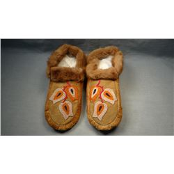 Chippewa partially beaded moccasins, moose hide w/mink fur trim, from Turtle Mountain Reservation, N