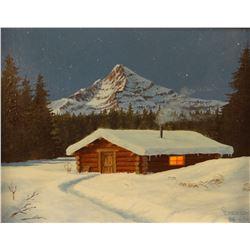 Emerson, C. L. oil on board, Winter Cabin