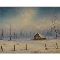 "Farrar, Burton oil on canvas, Winter Cabin, 11"" x 14"""