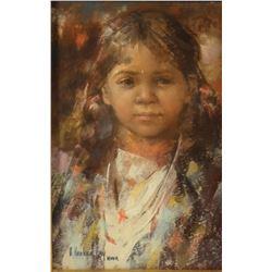 "Hooker-Fay, Arlene (1937 - 2001) pastel, Blackfeet Child, 9"" x 13"", Northwest Rendezvous"