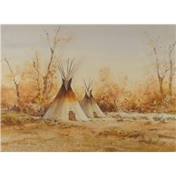 """Rees, Howard, watercolor, Autumn Teepees, 12"""" x 8"""""""