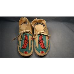 Chippewa 1/2 beaded moccasins, from Turtle Mountain Reservation, N. Dak.