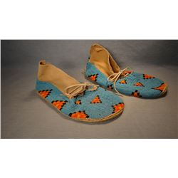 Crow full beaded moccasins, XXL, Crow Reservation, MT.