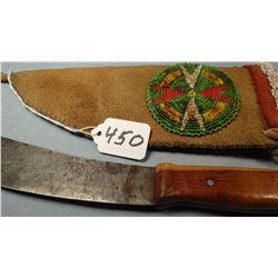 """Hand made knife, 6"""" w/sheath, ca 1950's, elk hide"""
