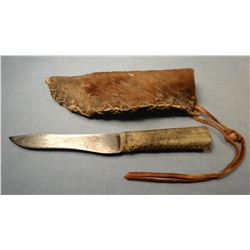 "Old knife, 6"", horse rawhide sheath, old"