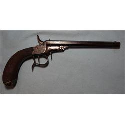 "J. Leller parlor pistol, Belgium made, .22, 8"" oct bbl., engraved receiver. LN 4"