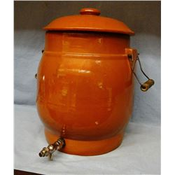 Imperial 5 gal. stoneware water cooler w/lid, excellent cond.