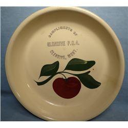 "Watt Ware advertising pie plate, 9"", Glendive, MT PCA, apple pattern"