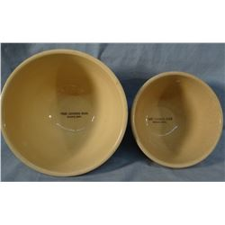 "(2) Watt Ware advertising bowls, 7"" & 8"", First National Bank, Reserve, MT, mint, apple pattern"