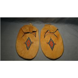 Northern Cheyenne bead trimmed moccasins, brain tanned, Northern Cheyenne Reservation, MT  LN 26