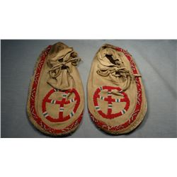 Sioux beaded moccasins, front and trim, old, from Pine Ridge, SD.