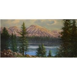"Madsen, Matt, oil on board, Glacier Park, 24"" x 48"", framed. Very nice!"