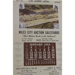 1953 Miles City Livestock Sales Yard calendar, Les Boe, Operator, complete, framed