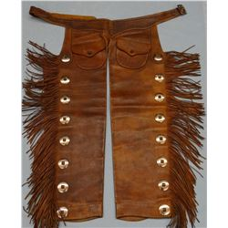 C. R. Wells shotgun chaps, fringed, outside pockets, basket stamped belt, 39""
