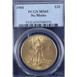 1908 St. Gaudens $20 gold coin, no motto, PCGS MS65